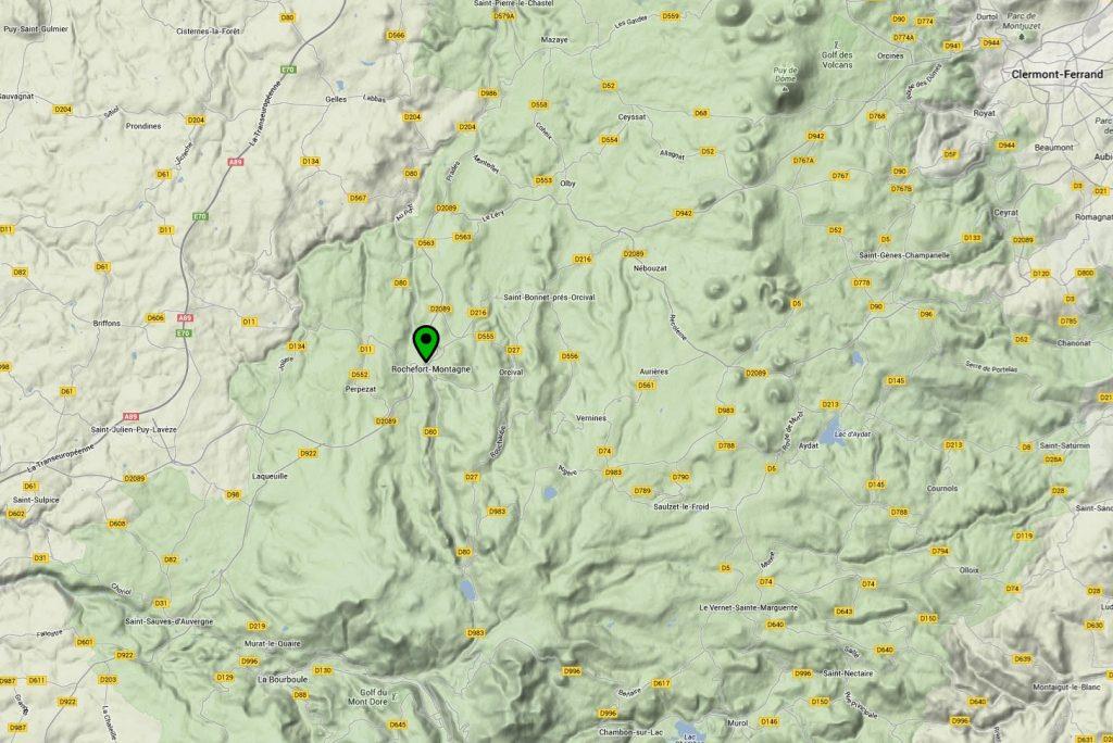 Situation de notre Gîte en Auvergne